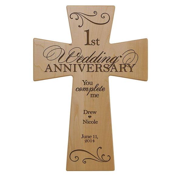 Personalized 1st Anniversary Maple Wall Cross - You Complete Me 7 x 11