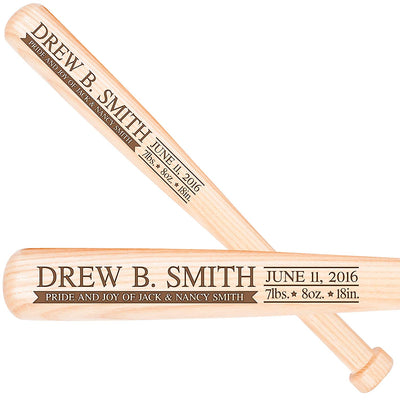 "Personalized Baseball Bat Baby Shower Gift 18"" L X 1.75"" Pride and Joy"