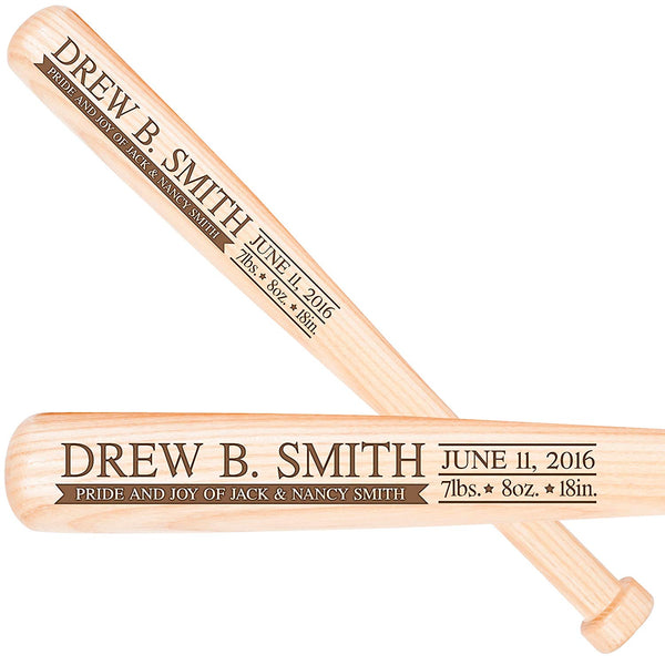"Personalized New Baby birth shower announcement gifts for newborn boys and girls Custom engraved baseball bat gift 18"" L X 1.75"""