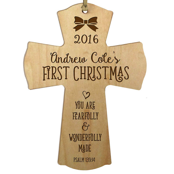 Personalized Christmas Baby's First Christmas Wall Cross - Wonderfully Made Maple