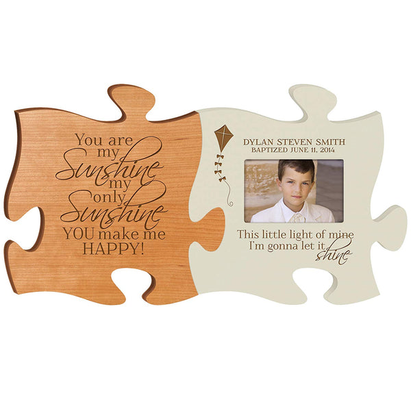 LifeSong Milestones Puzzle Piece Picture Frame Baptism Christening Communion Frame holds 4x6 photo