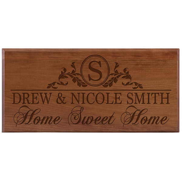 Personalized Home Wall Sign - Home Sweet Home Cherry Solid