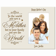 Personalized Happy Mother's Day Photo Frame - To The World Ivory