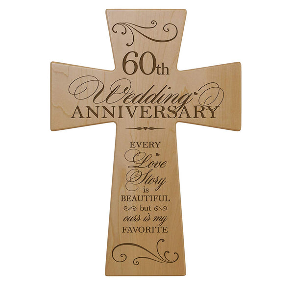 60th Wedding Anniversary Maple Wood Wall Cross Gift for Couple, 60 year Anniversary Gifts for Her, Sixtieth Wedding Anniversary Gifts for Him