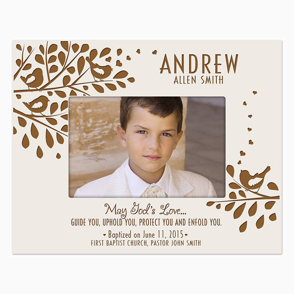 LifeSong Milestones Gift for Godchild Personalized Godson Goddaughter Photo frame holds 4x6 photo May God's Love Guide You