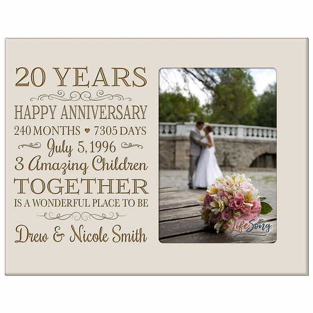 Personalized 20th Year Anniversary Photo Frame - Counting Our Blessings Ivory