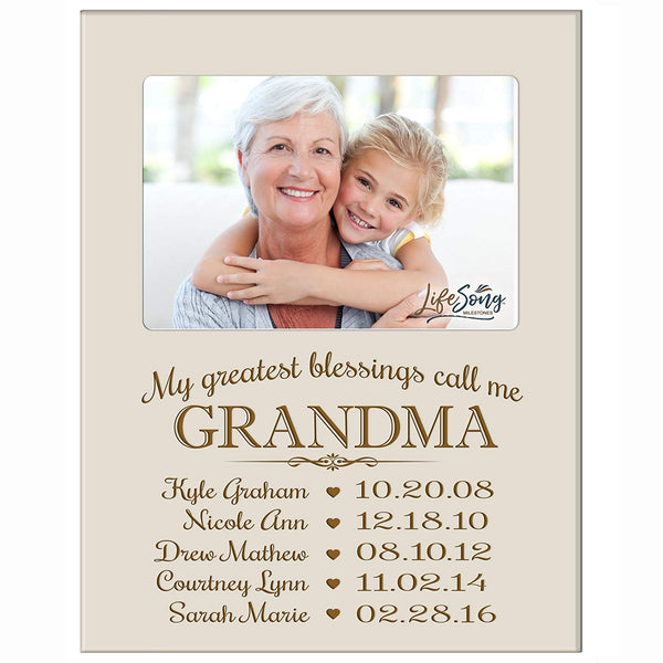 Personalized Gift for Grandma Picture Frame with children's names and kid's birth date special dates My Greatest blessings call me Grandma holds 4x6 photo by LifeSong Milestones
