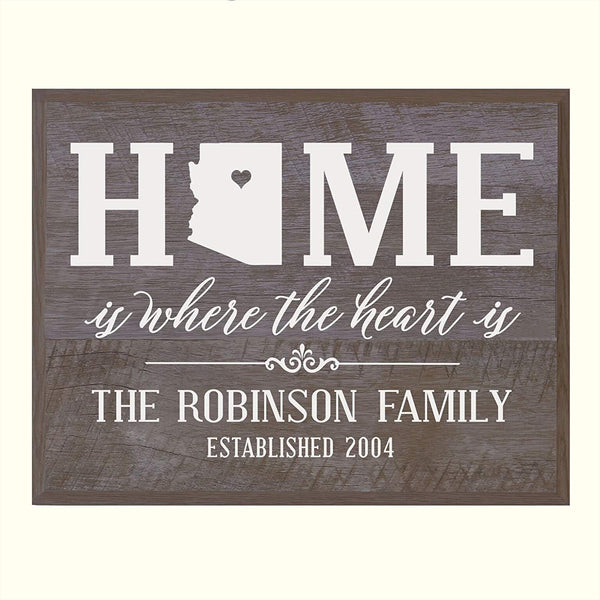 LifeSong Milestones Personalized Arizona State Home is Where the heart is Wall plaque with Family last Name and Year Established Housewarming gift by