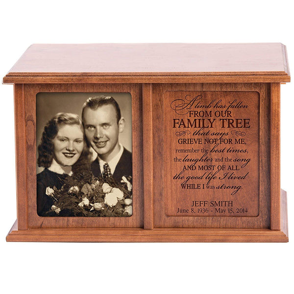 Companion Urns for Humans Ashes Personalized Engraved Double Keepsake Urn for adults Family Tree A Limb has fallen from Our Family Tree Cherry Wood For home or Columbarium Niche