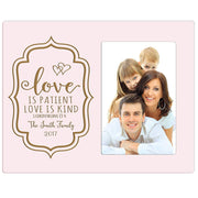 Personalized Valentine's Day Photo Frame - Love Is Patient Pink