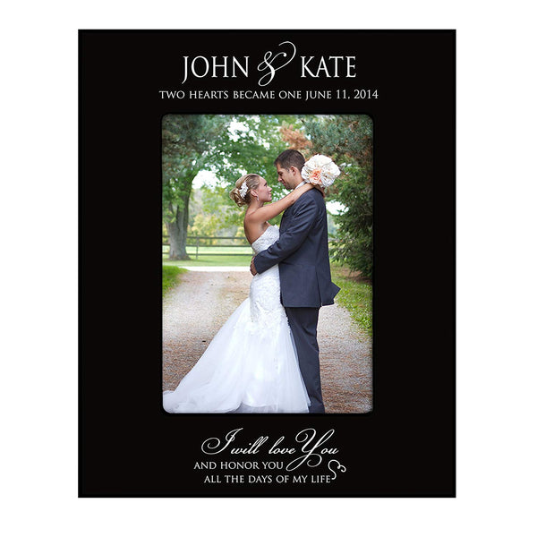 "Wedding Photo Frame "" Two Hearts Became One "" Holds 4x6 Photo"