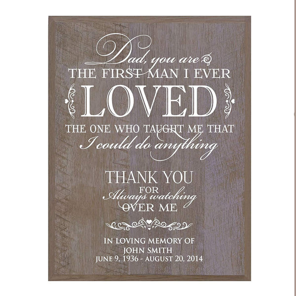 Memorial wall plaque Dad You Are The First size 12 x 15