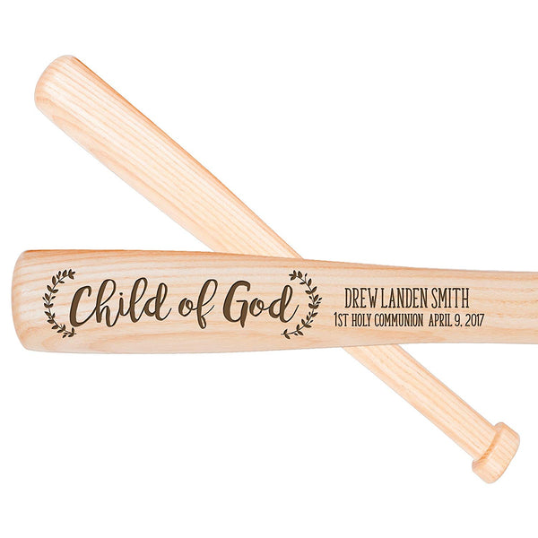 Personalized Baptism Ash Wood Baseball Bat Gift Child of God