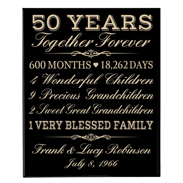 "Personalized 50th Anniversary Gifts for him her Couple parents, Custom Made 50 year Anniversary Gifts ideas Wall Plaque 12"" x 15"" By LifeSong Milestones"