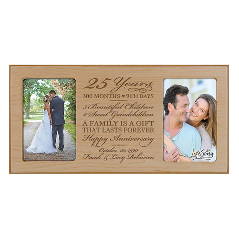 Personalized 25th Year Anniversary Double Photo Frame Maple