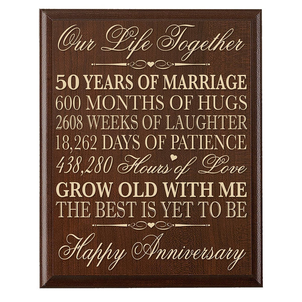 "LifeSong Milestones 50th Wedding Anniversary Gifts for Couple, 50th Anniversary Gifts for Her,50th Wedding Anniversary Gifts for Him 12"" W X 15"" H Wall Plaque"