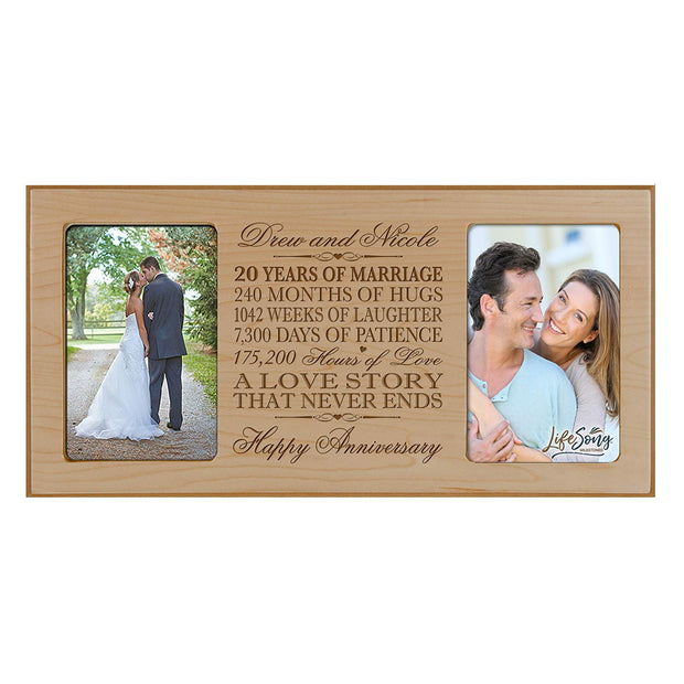 Personalized 20th Anniversary Double Photo Frame - Happy Anniversary Maple