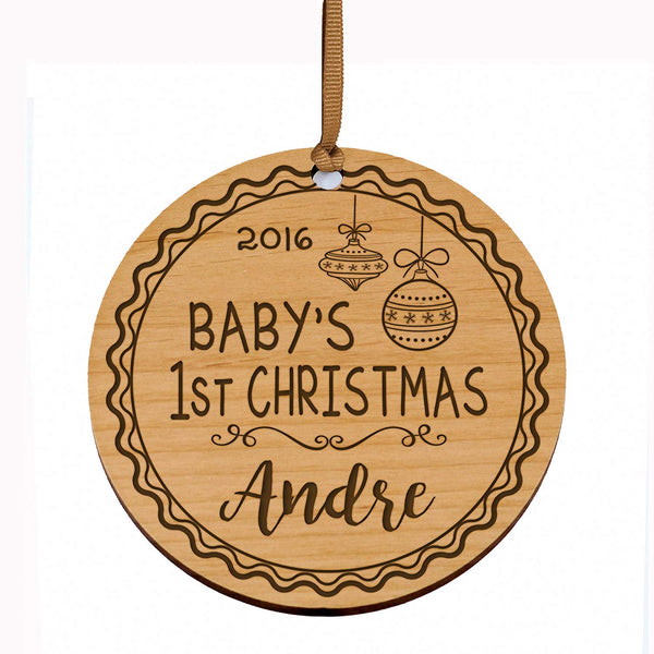 Personalized Baby's First Christmas Ornament New Parent gift ideas for newborn boys and girls Custom engraved wooden ornament for mom dad and grandparents (Baby's 1st Christmas)