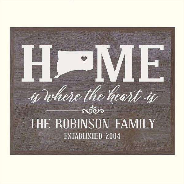 LifeSong Milestones Personalized Connecticut State Home is Where the heart is Wall plaque with Family last Name and Year Established Housewarming gift by