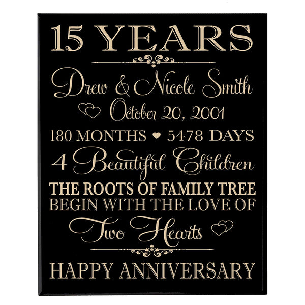 Personalized 15th Anniversary Wall Plaque - Family Tree Black Solid