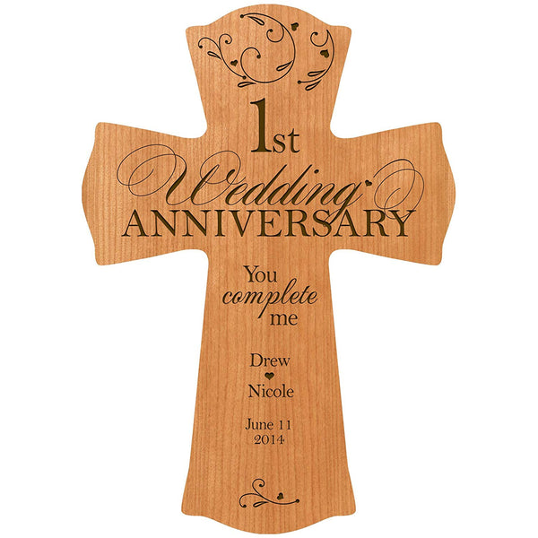 "LifeSong Milestones Personalized 1st Wedding Anniversary Wood Wall Cross Gift for Couple 1 year Anniversary Gifts for Her, Anniversary Gifts for Him You Complete Me (8.5"" x 11"", Cherry)"