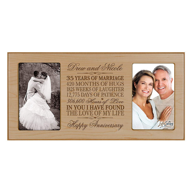 Personalized 35th Anniversary Double Photo Frame - Happy Anniversary Maple