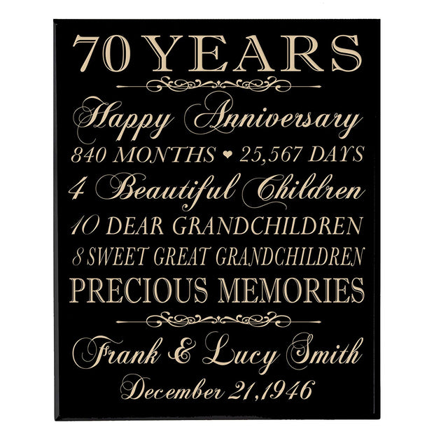 Personalized 70th Anniversary Wall Plaque - Precious Memories Black Solid