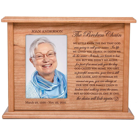 Cremation Urns for Human Ashes Memorial Keepsake box for cremains, personalized Urn for adults and children ashes The Broken Chain WE LITTLE KNEW SMALL portion of ashes holds 4x6 photo holds