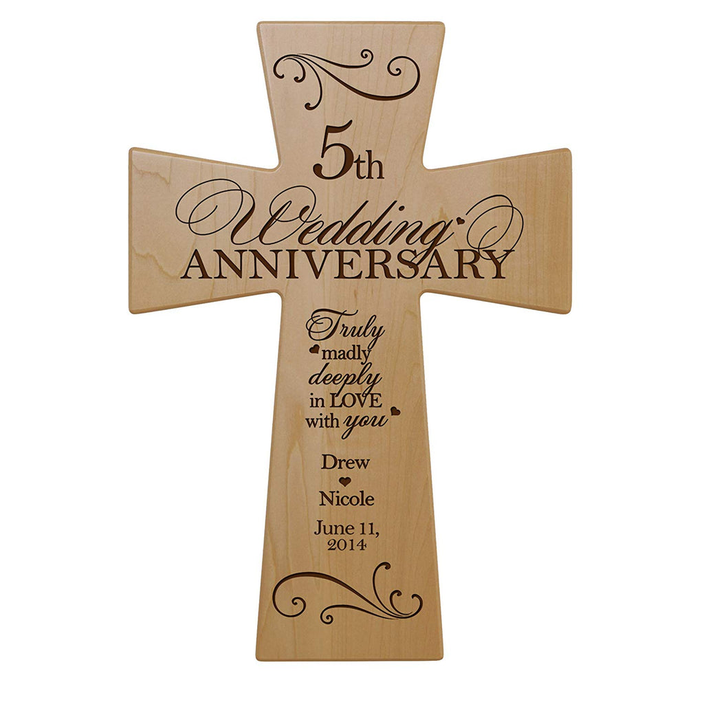 5th Year Wedding Anniversary Gifts For Him: Personalized 5th Wedding Anniversary Maple Wood Wall Cross