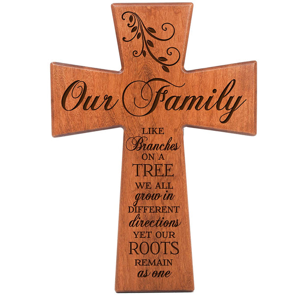 Our Family Like Branches on a Tree - Cherry Wood Wall Cross