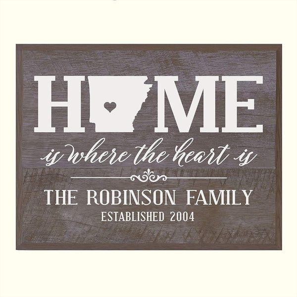 LifeSong Milestones Personalized Arkansas State Home is Where the heart is Wall plaque with Family last Name and Year Established Housewarming gift by