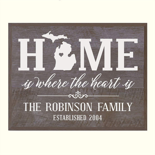 Personalized Michigan State Home is Where the heart is Sign