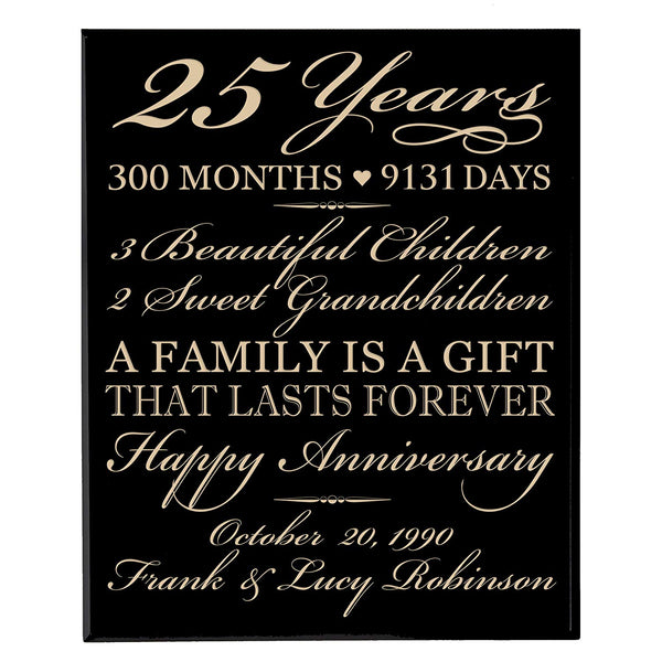 "Personalized 25th Anniversary Gifts for him her Couple parents,Custom Made 25 year Anniversary Gifts ideas Wall Plaque 12"" x 15"" By LifeSong Milestones (Black)"