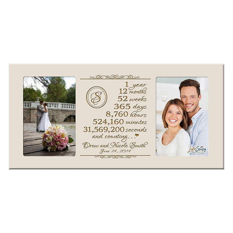 Personalized 1st Year Anniversary Double Photo Frame Ivory