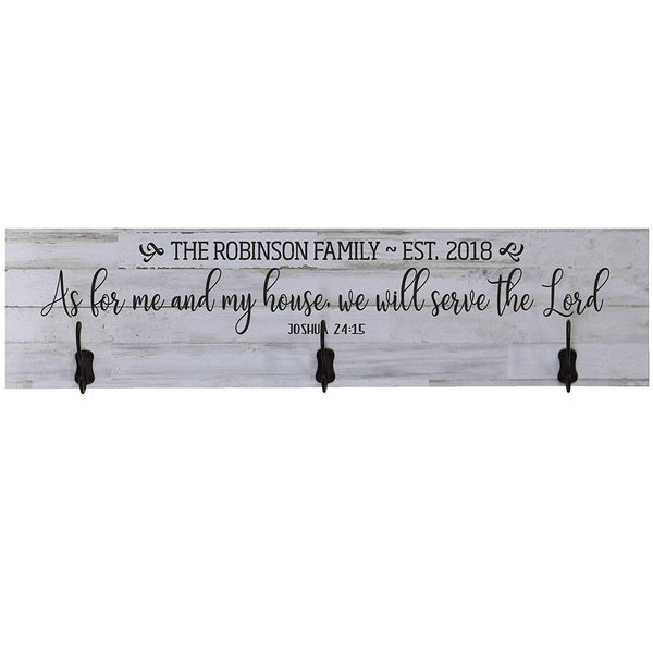 LifeSong Milestones Personalized As For Me And My House Wall Mounted Coat Rack with 3 Hooks for Jackets, Hats, Scarves, Clothes,Towels with Inspirational Scripture Wall Quote