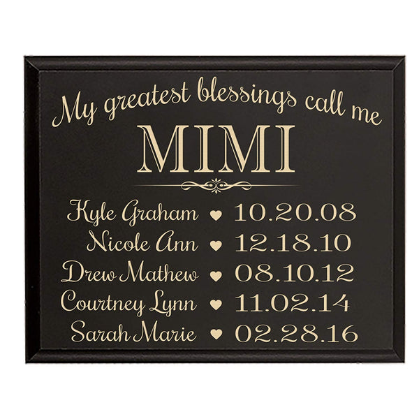 Mimi gifts Birthday gifts for her with children's names Personalized kid's birth date special dates My Greatest blessings call me Mimi by LifeSong Milestones