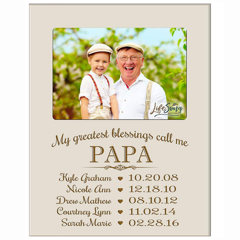 Personalized Gift for Papa Picture Frame - Papa Ivory