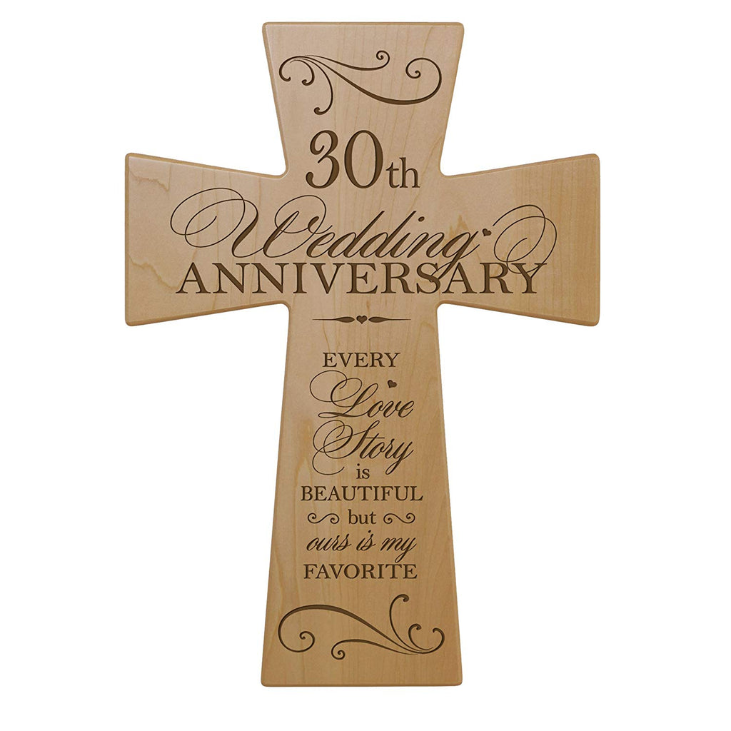 30th Wedding Anniversary Maple Wood Wall Cross Gift For Couple 30