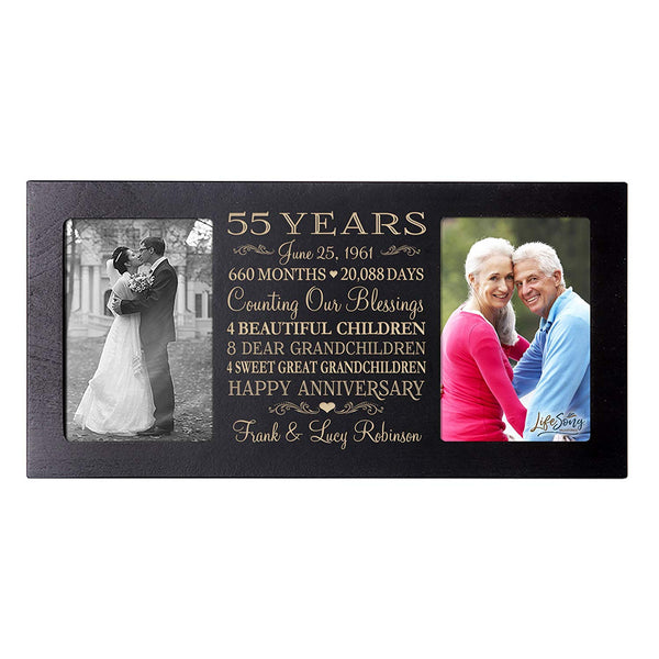 Personalized 55th Year Anniversary Double Photo Frame Black