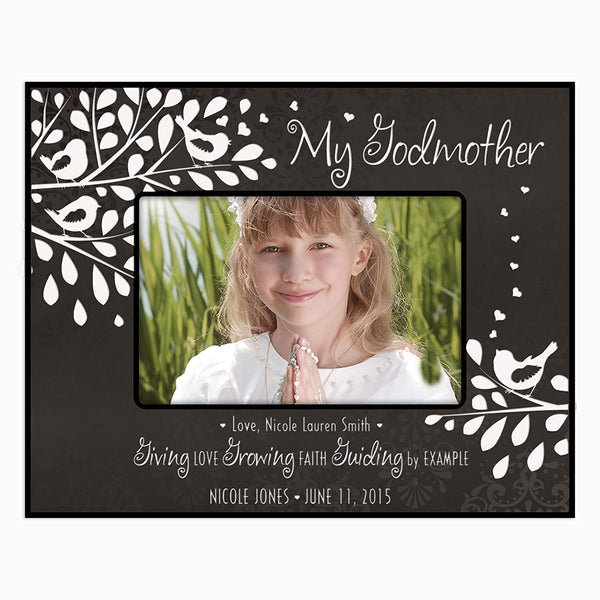 Personalized Godparents Photo Frame - Giving Love Growing Faith Guiding by Example (Black)