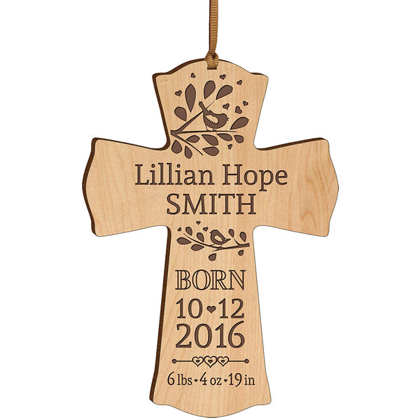 Personalized Baby Announcement Wall Cross - Engraved Maple