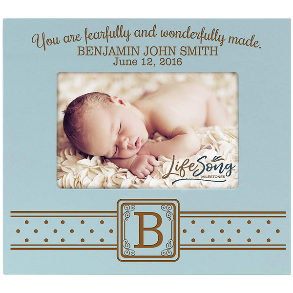 Personalized New Baby Photo Frame - Fearfully & Wonderfully Blue