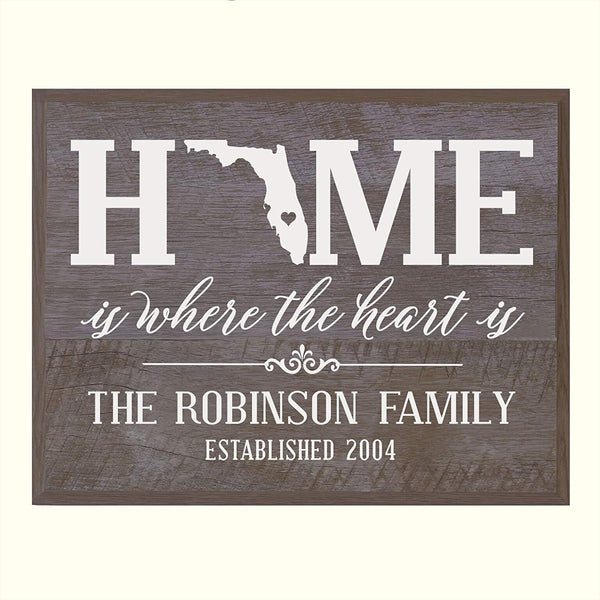 LifeSong Milestones Personalized Florida State Home is Where the heart is Wall plaque with Family last Name and Year Established Housewarming gift by