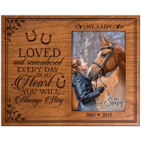 LifeSong Milestones Personalized Pet Memorial Gift, Sympathy Photo Frame, Loved and Remembered Every Day In My Heart You Will Always Stay, Custom Frame Holds 4x6 Photo by USA Made