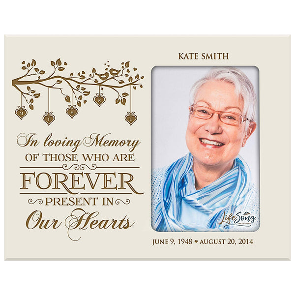 LifeSong Milestones Personalized Memorial Sympathy Picture Frame, In Loving Memory Of Those Who Are Forever Present In Our Hearts, Custom Frame Holds 4x6 Photo, Made In USA by