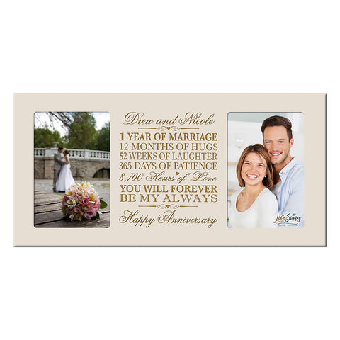 Personalized 1st Anniversary Double Photo Frame - Happy Anniversary Ivory