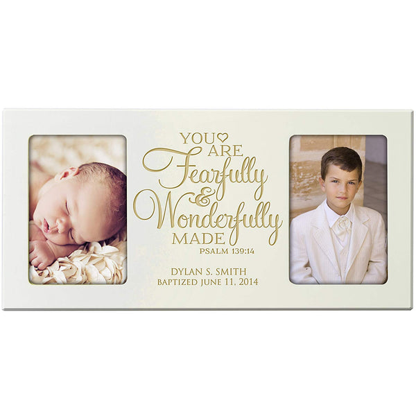 Personalized First Communion Blessings photo frame Gift Custom Christening Engraved Christening picture frame holds 2 -4x6 photos You are Fearfully and Wonderfully Made Psalm 139:14