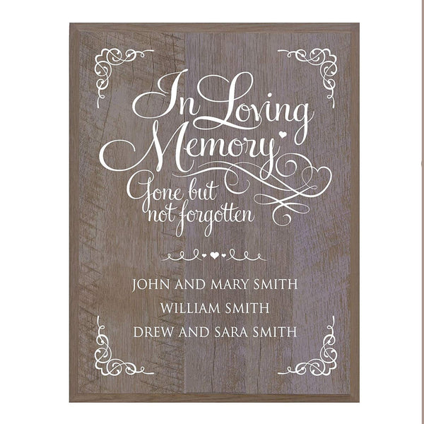 LifeSong Milestones Memorial gift for loss of loved one, Mother, Father, Wife, Husband, Son, Daughter Sympathy gift ideas wall plaque Gone But Not Frogotten size 12 x 15