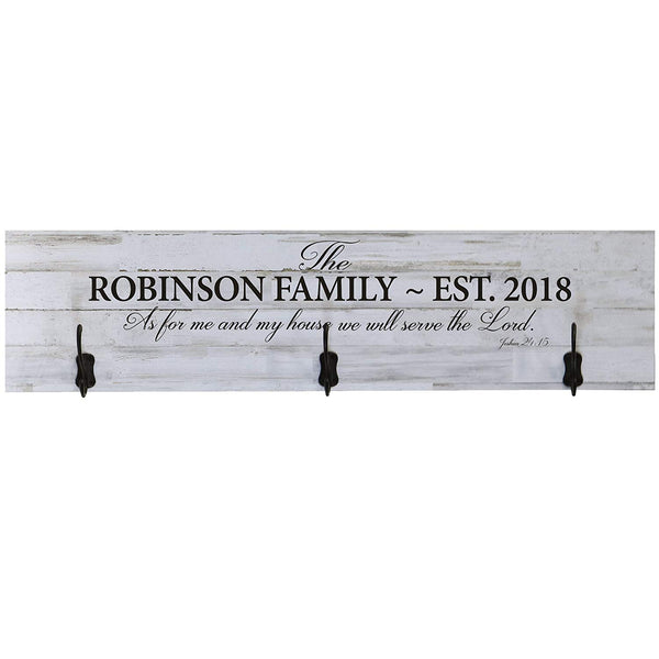 LifeSong Milestones Personalized Coat Rack As For Me and My House Family Established Year Wall Signs Last Name for home, Wedding, Anniversary, Living Room, Entryway, Kitchen