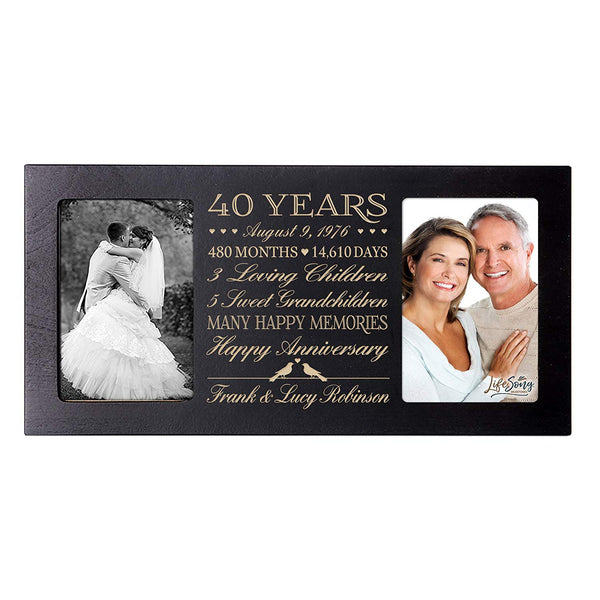 Personalized 40th Year Anniversary Double Photo Frame Black